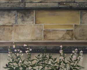 Natalie O'Dell, Cathedral wall, Bury St Edmunds, 2014, oil on canvas.