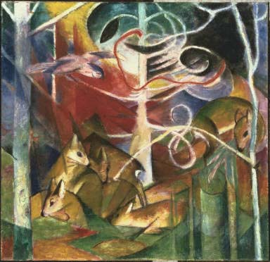 Franz Marc, Deer in Forest 1, 1913, Oil on canvas, Framed: 43 in x 44 1/2 in x 2 3/4 in, Gift from the estate of Katherine S. Dreier 1953, The Phillips Collection, Washington, D.C.