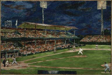 Marjorie Phillips, Night Baseball, 1951, Oil on canvas, 24 1/4 x 36 in., Gift of the artist, 1951 or 1952, The Phillips Collection, Washington, D.C.