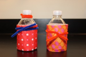 (Option 1 examples) Two decorative water bottle maracas. Photo: Hayley Prihoda