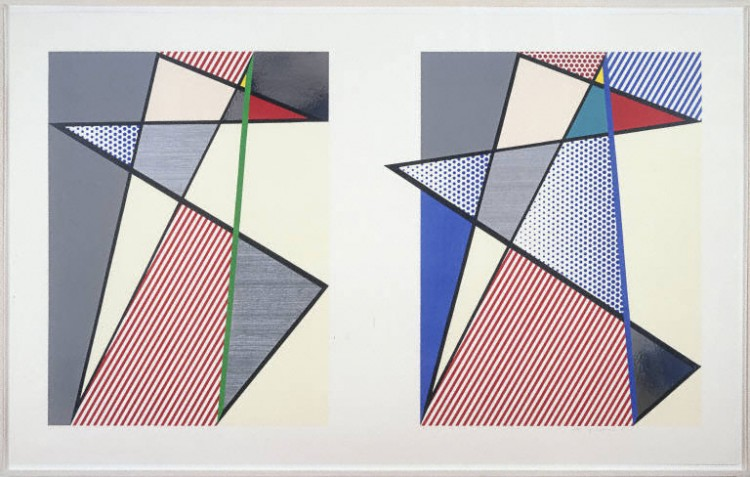 Roy Lichtenstein, Imperfect Diptych, 1988. Woodcut, screen print, and collage on museum board. Gift of Sidney Stolz and David Hatfield, 2009.