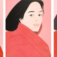 (left) Alex Katz, Brisk Day, 1990. Woodcut, 36 in x 29 1/8 in. Gift of Fenner Milton, 2013. (middle) Alex Katz, Brisk Day, 1990. Aquatint, 35 3/8 in x 28 1/2 in. Gift of Fenner Milton, 2013 (right) Alex Katz, Brisk Day, 1990. Lithograph, 36 in x 29 in. Gift of Fenner Milton, 2013