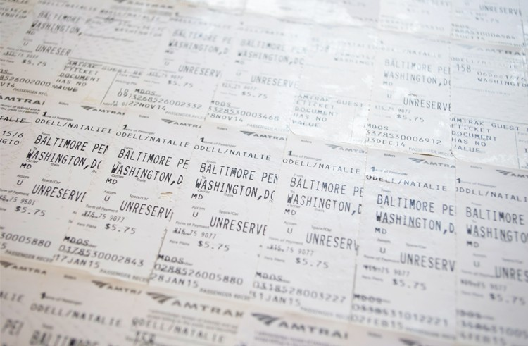 Train tickets, photograph by Natalie O'Dell