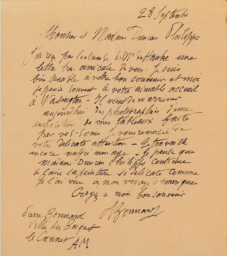 Bonnard letter from the archives