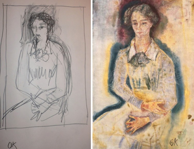 Kokoschka Lotte with former MA sketch