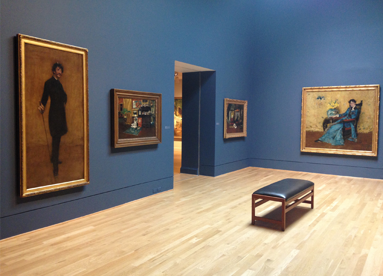 Phillips Collection room with blue wall, wood floor, one bench, and wall four paintings by William Merritt Chase