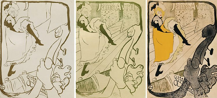 Jane Avril 1893_three versions_Toulouse-Lautrec