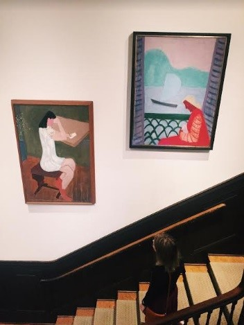Left: Milton Avery, Girl Writing, 1941, Oil on canvas, 48 x 31 3/4 in. The Phillips Collection, Acquired 1943; Right: Milton Avery, March on the Balcony, 1952, Oil on canvas, 44 x 34 in., The Phillips Collection, Acquired 1961