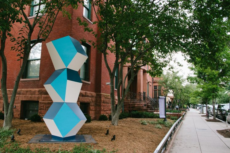 Heavy Metal Stack: Fat Cyan Three, 2018, Powder coated steel, Made possible with support from Susan and Dixon Butler, Nancy and Charles Clarvit, John and Gina Despres, A. Fenner Milton, Eric Richter, Harvey M. Ross, George Vradenburg and The Vradenburg Foundation