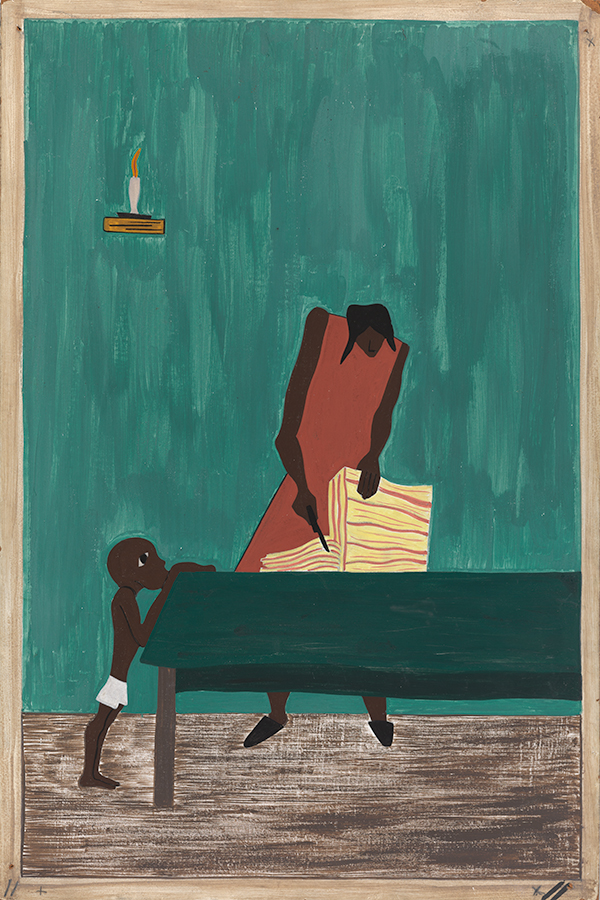 Jacob Lawrence, The Migration Series, Panel no. 11: Food had doubled in price because of the war., 1940-41, Casein tempera on hardboard, 18 x 12 in. The Phillips Collection, Acquired 1942