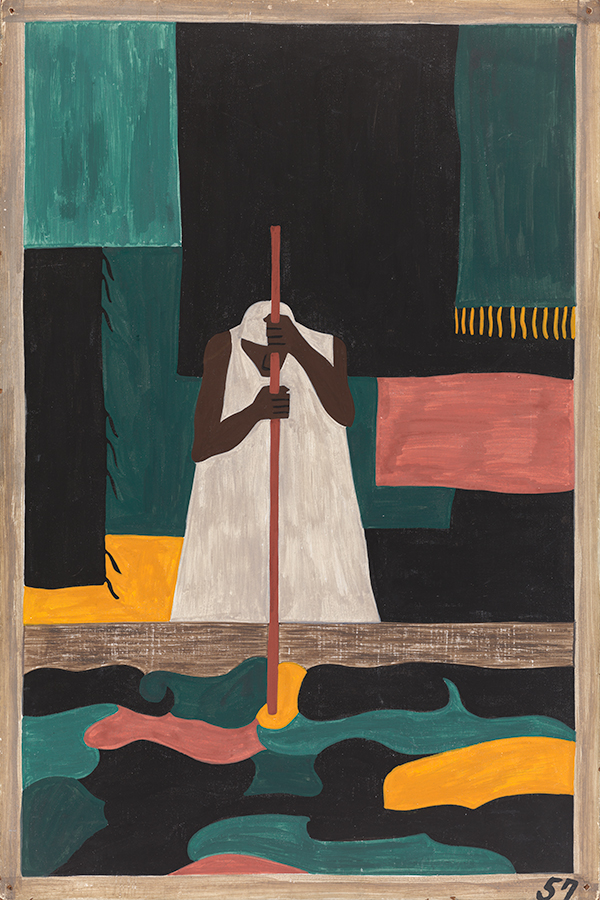Jacob Lawrence, Panel no. 57: The female workers were the last to arrive north., 1940–41, Casein tempera on hardboard, 18 x 12 in. The Phillips Collection, Washington, DC, Acquired 1942