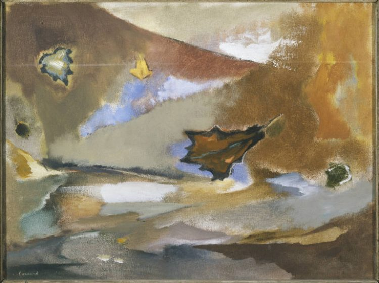 "John Gernand, ""Blowing Leaves"", 1944, Oil on canvas, 12 x 16 in., The Phillips Collection, Acquired 1945."