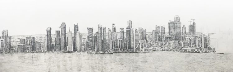 Doha, Qatar Cityscape drawn from memory by Stephen Wiltshire, photographed by Victor Pierre