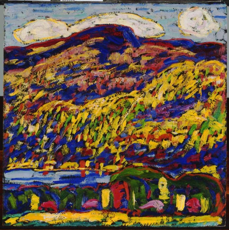 Marsden Hartley, Mountain Lake--Autumn, c. 1910, Oil on academy board, 12 x 12 in., The Phillips Collection, Gift of Rockwell Kent, 1926
