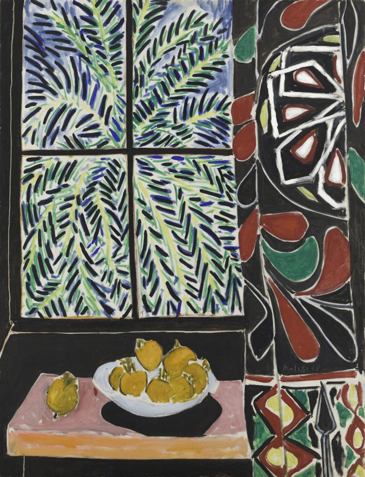 Interior With Egyptian Curtain, Henri Matisse,  1948, Oil on canvas, 45 3/4 x 35 1/8 in.