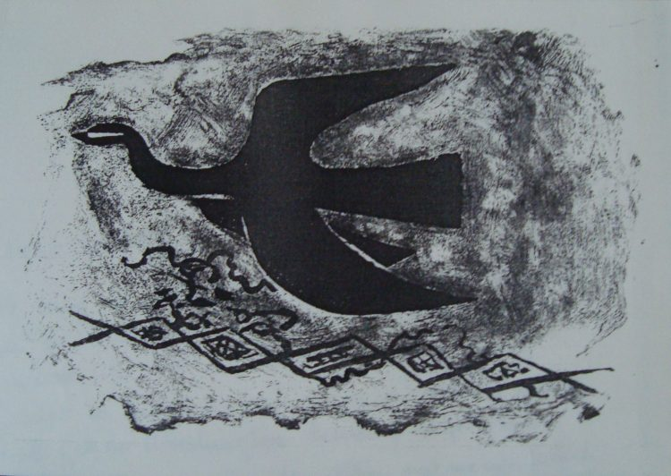 "Figure 4, ""Bird,"" Lithograph, Georges Braque, 1956"