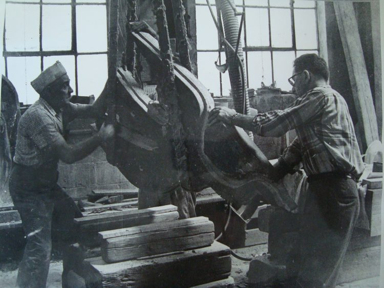 "Figure 5, ""Bird"" sculpture during fabrication in Pierre Bourdelle's workshop."