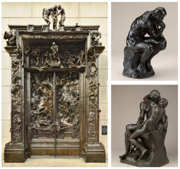 Far left: The Gates of Hell, 1880-c. 1890, cast 1981, Bronze, Cantor Arts Center, Gift of B. Gerald Cantor Collection Left top and bottom: The Thinker, modeled 1880, reduced 1903, cast later, Bronze; The Kiss, modeled c. 1881–82, cast later, Bronze; North Carolina Museum of Art, Gift of the Iris and B. Gerald Cantor Foundation