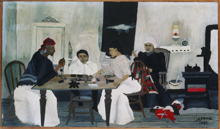 "Horace Pippin ""Domino Players"" 1943, Oil on composition board, 12 3/4 x 22 in.; Acquired 1943"
