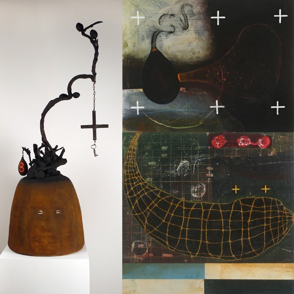 "(Left) Renée Stout, Elegba (Spirit of the Crossroads), 2015 - 2019, mixed media, 39"" x 17"" x 13""  (Upper right) Renée Stout, Mannish Boy Arrives (for Muddy Waters), 2017, acrylic and latex on wood panel, 16"" x 20"" x 1.5""  (Lower right) Renée Stout, Escape Plan A, 2017, acrylic, varnish, and collage on wood panel, 10"" x 10"" x 1.5"""