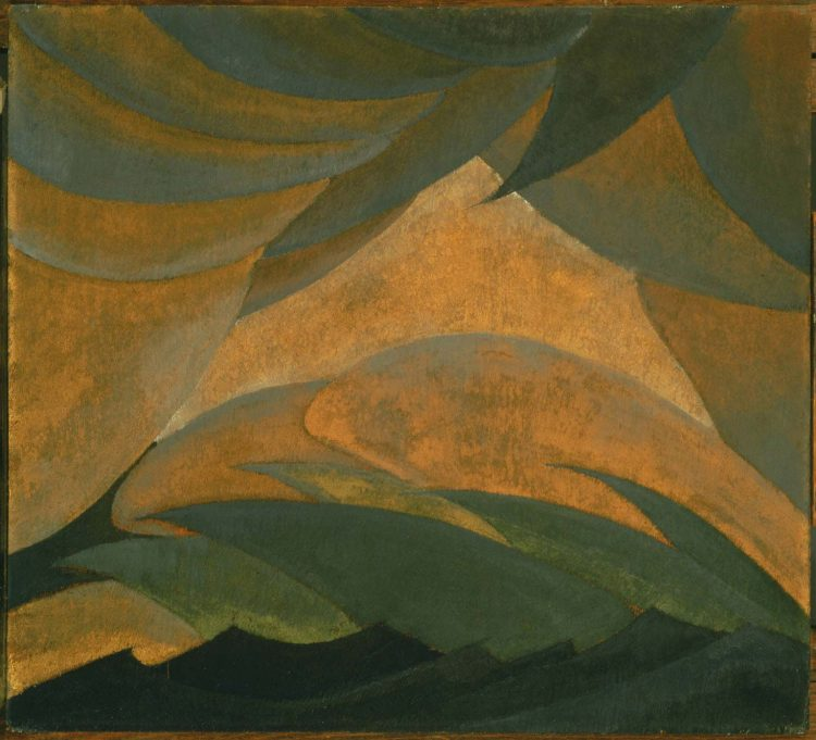 Dove, Arthur G., Golden Storm, 1925, Oil and metallic paint on plywood panel 18 9/16 x 20 1/2 in., The Phillips Collection, Acquired 1926