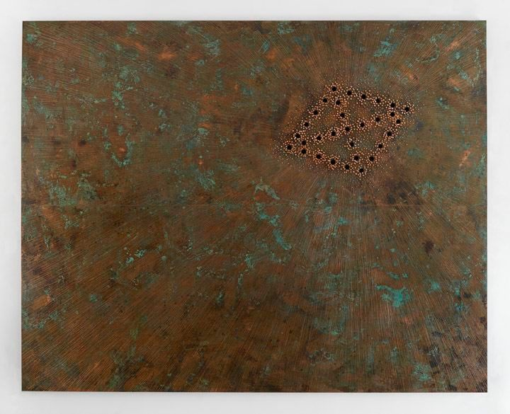 Nari Ward Breathing Panel: Oriented Right, 2015 Oak wood, copper sheet, copper nails, and darkening patina 96 x 120 x 2 1/4 in. Collection of Allison and Larry Berg, Courtesy of the artist and Lehmann Maupin, New York, Hong Kong, and Seoul