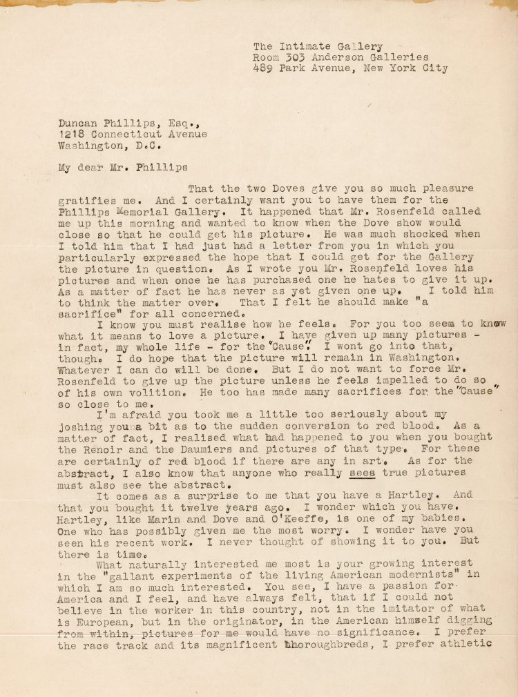Letter from Stieglitz to DP February 1 1926