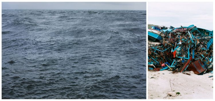 Wolfgang Tillmans, The State We're In, 2015 (left), Lampedusa, 2008 (right)