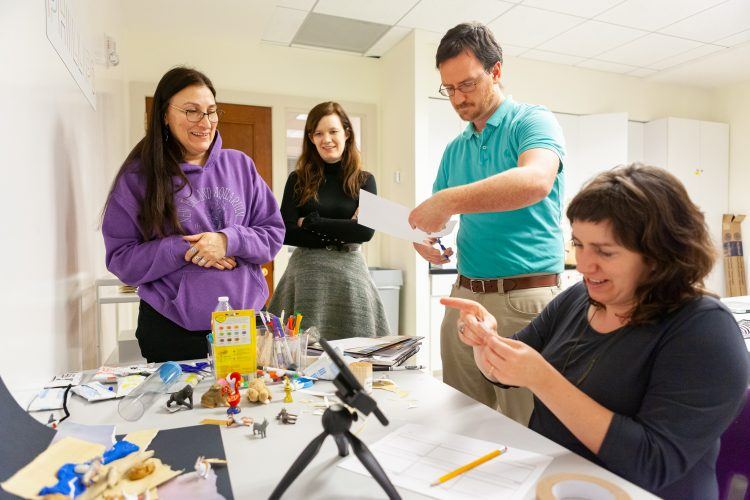 Teacher participants learn how to use stop-motion animation to link the visual arts with core curriculum subjects. Photos: Travis Houze