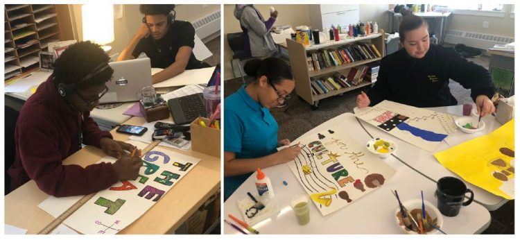 Two photos of high school students creating #Panel61