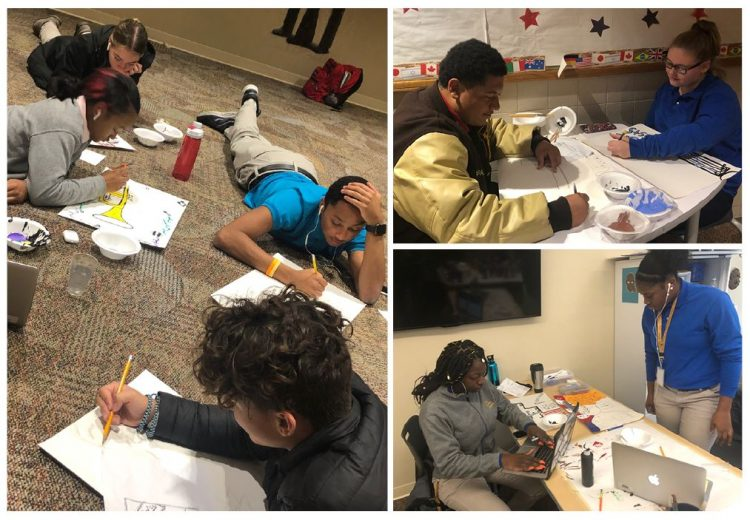 Three photographs of high school students creating #Panel61